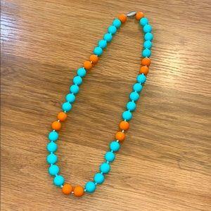 Turquoise & Orange Silicone Necklace~